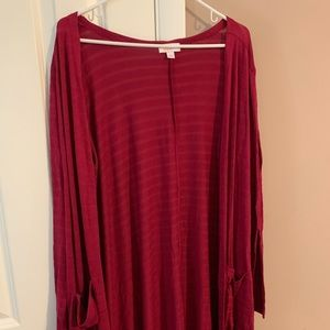 EUC Lularoe Sarah Ribbed Red GORGEOUS Large